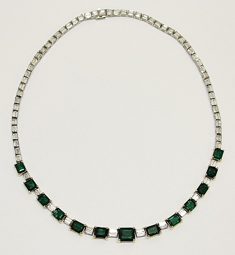 Platinum and 18K Diamond & Emerald Necklace