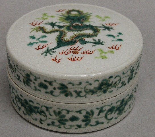 Chinese Famille Verte Porcelain Ink Paste Box
