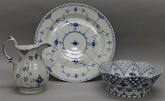 Royal Copenhagen Fluted Blue Lace Serving Pieces