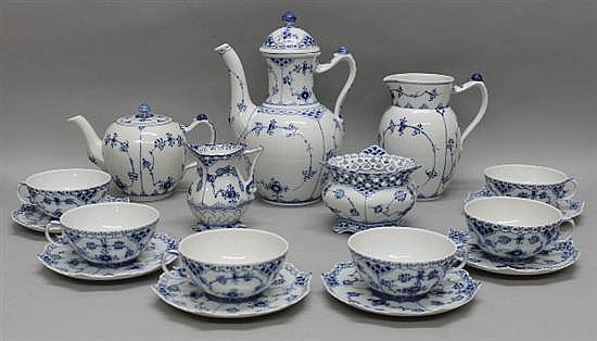 Royal Copenhagen Fluted Blue Lace Tea and Coffee Service