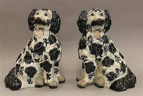 Pair of Staffordshire Porcelain Black & White Seated Spaniels