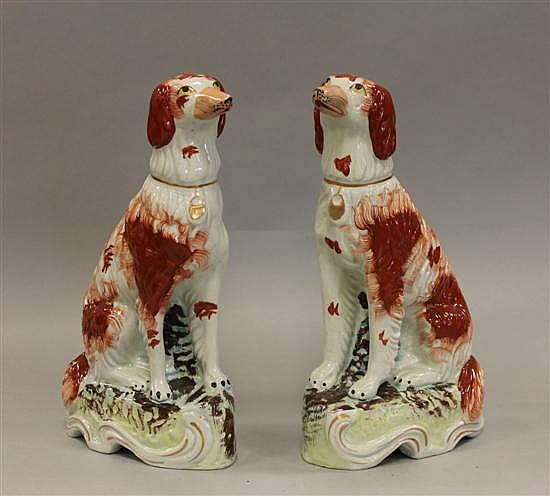 Pair of Rare Staffordshire Porcelain Seated Irish Setters