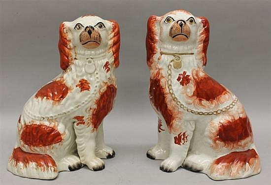 Pair of Staffordshire Seated Red & White Spaniels