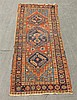 Karaja Persian Mat, Diamond Shaped Medallion, Floral Spandrel, (Thread Worn), 78