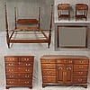 Henkel Harris Virginia Galleries 6 Piece Bedroom Suite, Mahogany, (Some Minor Scratching, Good Condition) (1) Bed 69 1/2