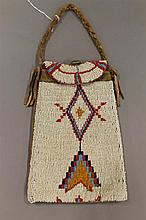 Beaded pouch with brass button and trade cloth lining, Sioux, 8