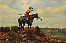 Oil on canvas by Anderson, Indian on horseback, 23