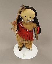 Vintage leather and beaded doll, 9 1/2