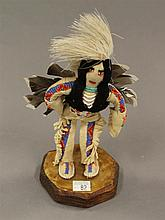 Eagle dancer hide dressed doll with beads, 6