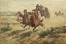oil on canvas of stagecoach attack, artist signed but unlegable, 28