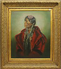 Oil on canvas, portrait of Native American woman, signed Garcia, 19 1/2