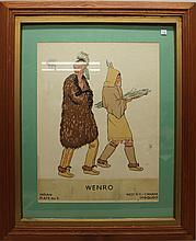 WPA- Museum Extension Project silk screen print, titled Wenno, Indian Plate #9, W NY Canada Iriquois, 17