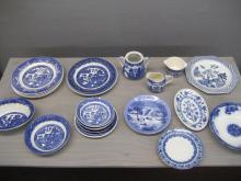 Group of blue porcelains and pottery