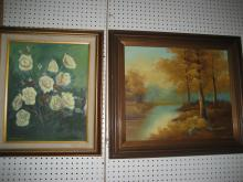 Landscape, Still Life Oil paintings and Pair of Mo