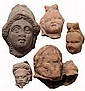 Lot of 5 Egyptian terracotta heads