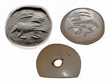 Near Eastern Sasanian white chalcedony stamp seal