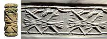 Neo-Assyrian green faience cylinder seal