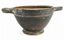 A small Greek black-ware skyphos