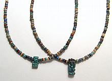 Egyptian faience bead necklaces with amulet pendants