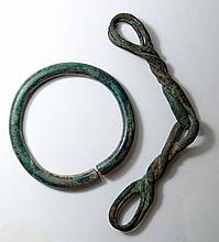 A Near Eastern bronze horse bit and large harness ring