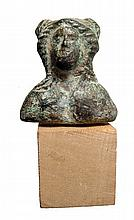 Roman bronze bust of a woman