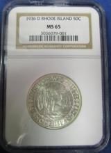 U. S.COMMEMORATIVE 1936-D RHODE ISLAND HLAF DOLLAR MS65