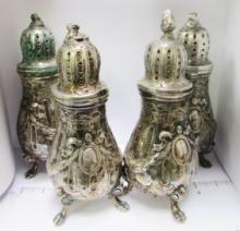 4 MATCHING ANTIQUE SILVER CONDIMENT SHAKERS