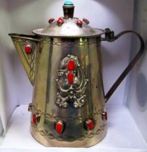 ANTIQUE SILVER TEA POT WITH DECORATIVE STONES