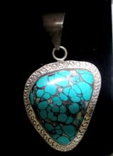 STERLING SILVER 950 PENDANT WITH LARGE TURQUOISE STONE
