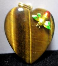 HEART SHAPED TIGER EYE PENDANT WITH INSECT