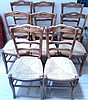 Set of eight rustic wooden ladderback dining /