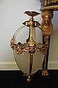 Louis XVI style bronze and etched and frosted glass hall lantern with bronze