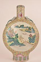 Chinese Qianlong period famille-rose moon flask