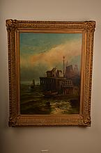American School, 19th century, Harbor Scene, oil on canvas laid down on board