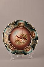 Royal Vienna plate with pheasant in center.