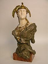 C. KAUBA (CARL KAUBA:AUSTRIAN 1865-1922) GILT BRONZE AND MARBLE FIGURE OF A WARR