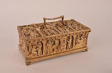 Gilt jewerly box with liner.