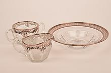 Silver overlay cut glass bowl with sugar and creamer.