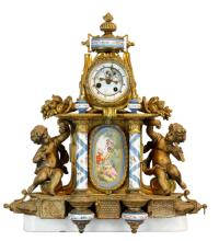 19th C. Gilded Metal and Porcelain Clock