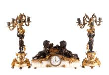 19th C. Clock Set of Cherub Figures