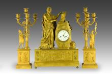 Late 18th - Early 19th C. Dore Bronze Clock Set