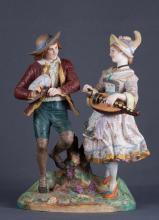 Pair of Bisque Porcelain Figural Statues, 1867