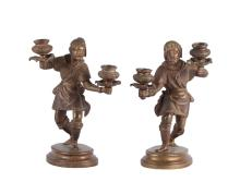 19th C. Pair of Figural Bronze Candlesticks