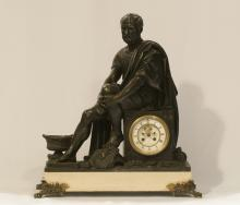 19th C. Brown Patina Bronze Clock