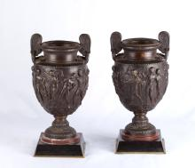 19th C. Pair of Greek Bronze Urns with Marble Base