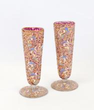 Pair of Hand Painted Enamel Vases