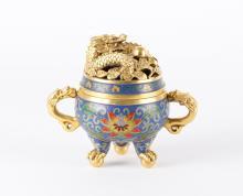 Chinese Cloisonne Tripod Incense Burner