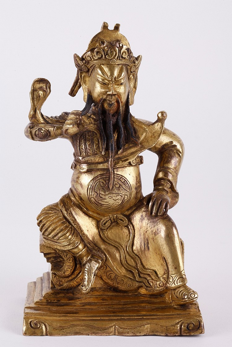 18/19th C. Chinese Gilt Bronze Figure of Guan Gong