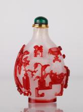 Qing Dynasty Red Overlay on Glass Snuff Bottle