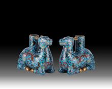 18/19th C. Cloisonne Recumbent Ram Candle Holders